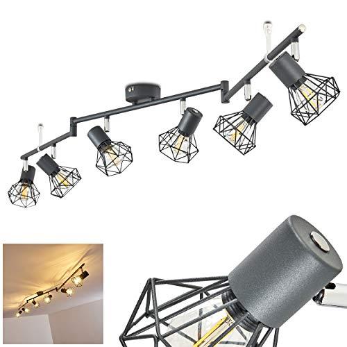 Plafondlamp Gullspang, metalen plafondlamp in antraciet, 6-vlam, met verstelbare spots, 6 x E14 stopcontact max. 40 Watt, moderne spot met roosters, LED-lampen geschikt