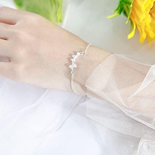 DJMJHG Pulsera con Dije de Hoja de Ginkgo de Plata de Ley 925 para Mujer, Pulseras y brazaletes Elegantes, joyería de Fiesta, cumpleaños