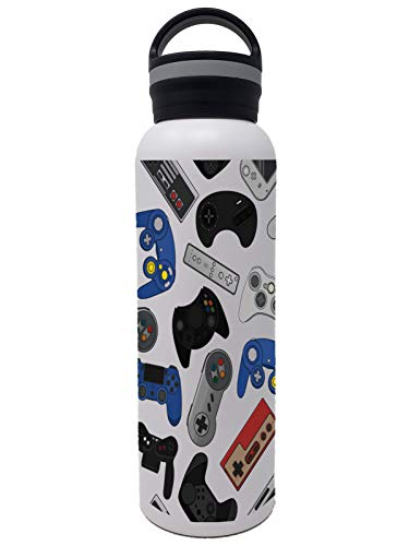25 oz Vacuum Insulated Stainless Steel Water Bottle - Flask Style Bottles with Cute Kids Printed Designs - Double Wall Leakproof - Perfect for Girls Boys Tweens and Teens Video Games