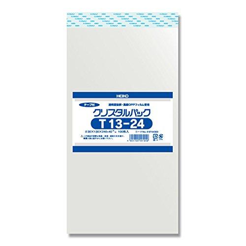ヘイコー 透明 OPP袋 クリスタルパック テープ付 13×24cm 100枚 T13-24