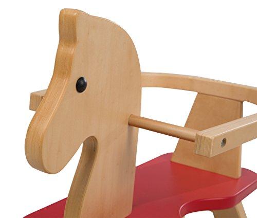 roba Schaukelpferd, Schaukeltier Massivholz natur rot, Schaukelstuhl mitwachsend für Babys und Kleinkinder durch abnehmbaren Schutzring - 9