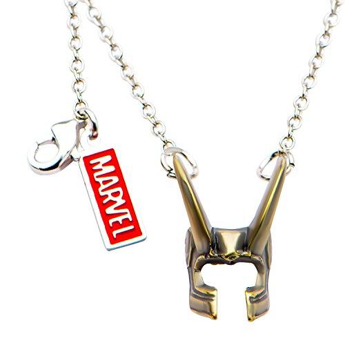 Marvel Comics Unisex Adult Base Metal Loki Helmet Chain Pendant Necklace, Antique Gold/Silver, One Size