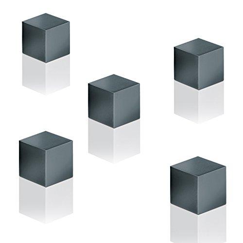 SIGEL GL728 SuperDym-Magnete Cube-Design, eloxiertes Aluminium, titan-grau, 5 Stück, 11x11x11 mm, für Glas-Magnettafeln - weitere Designs