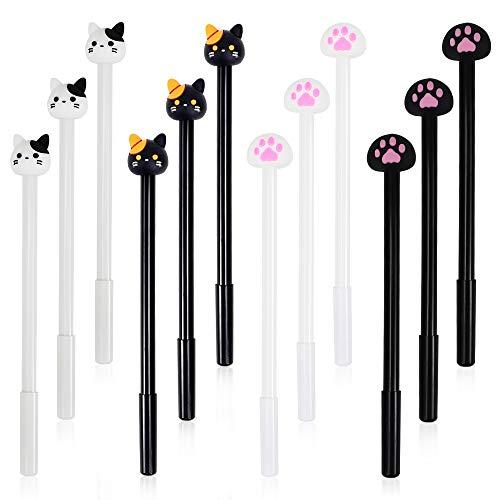 SITAKE 12 Pcs Cute Pens Kawaii Pens Fun Pens, 0.5mm Cartoon Cat Black Ink Writing Gel Ballpoint Pens, Korean Japanese Stationery School Supplies for Teen Girls Women Gifts (Cat paw)