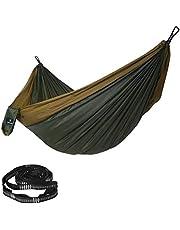 SONGMICS Ultralichte hangmat voor 2 personen, van ripstop-nylon, tot 300 kg belastbaar, 300 x 200 cm, voor rugzakreizen, kamperen, wandelen, legergroen-bruin GDC20AC
