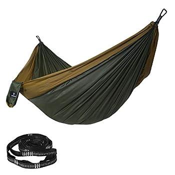 SONGMICS Hamac double ultra-léger, en nylon ripstop, charge 300 kg, 300 x 200 cm, transportable, pour randonnées, camping, extérieur, jardin, Vert sapin et marron GDC20AC