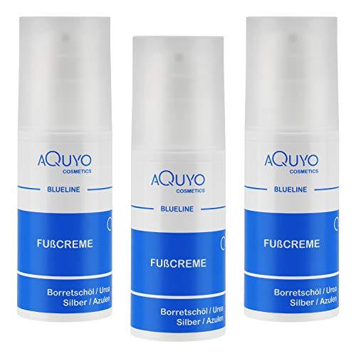 Blueline Fußcreme gegen Hornhaut und Fußpilz   Creme für trockene, rissige Füße und Entzündungen der Haut   Fusscreme mit 15% Urea   Fusspflege zur Behandlung von Schrunden (3er Pack - 3x 100ml)