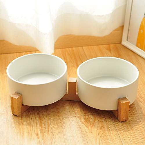 SOQHD Perro y Gato Comedero Doble tazón Comedero Cat Cat Food Rice Bowl Cat Anti-Flip Marco de Madera Maciza Que Bebe Agua de la Taza del Perro casero para casa