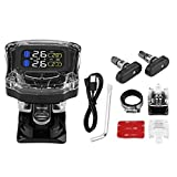 Terisass TPMS DC 5V Motorcycle Wireless Tire Pressure Monitoring System 433.92MHz Tyre Pressure Monitor Tester with 2 Pcs Built-in Sensors Kit Universal
