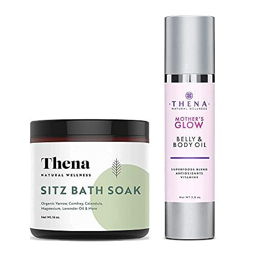 THENA Organic Sitz Bath Soak and Belly & Body Oil for Pregnancy Bundle