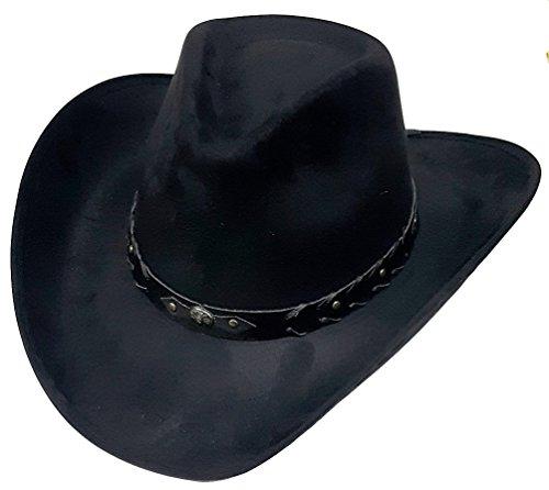 Modestone Unisex ''Felt Feel'' Wide Brim Sombrero Vaquero Black (Ropa)