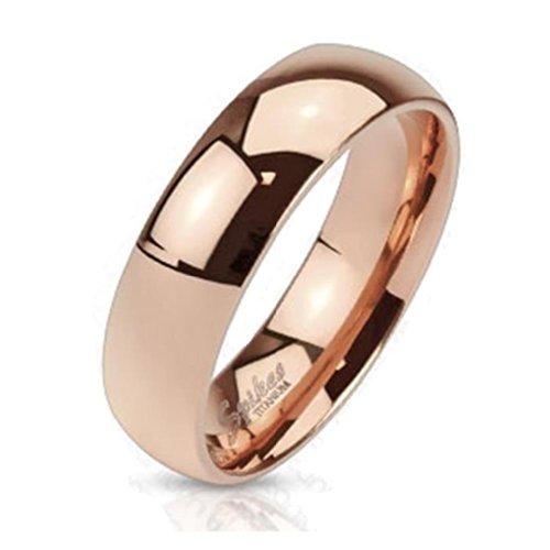 Paula & Fritz, fede in titanio, colore oro rosa, 8mm di larghezza, linea classica e titanio, 20,25, colore: Gold, cod. R-TI-4384-8_90