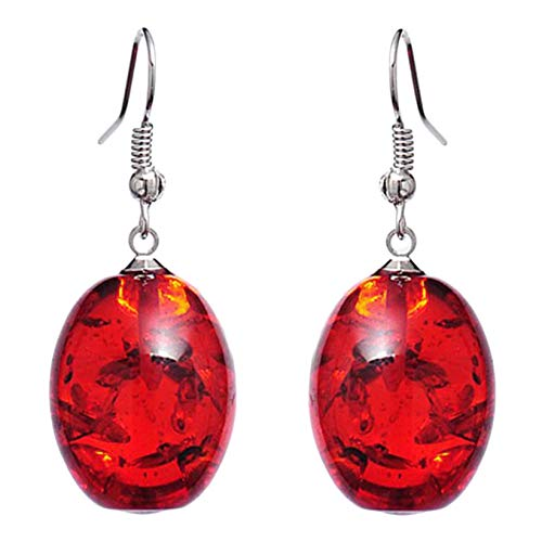 SJHFG Creative Amber Pendant Earring Charming Amber Drop Ear Studs Jewellery Accessories for Women,Red