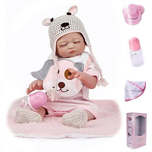 ZIYIUI Realista 50 cm 20 Pulgadas Reborn Bebé Muñecas Silicona de Cuerpo Completo Recién Nacido Hecho a Mano Reborn Doll Ojos Cerrados Niña Barato Regalo de cumpleaños Magnético Juguetes