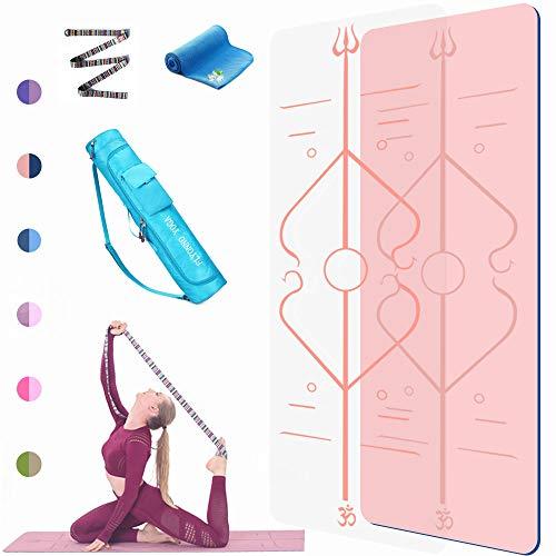 FLYONNO Yogamatte rutschfest mit Ausrichtungslinien 6mmTPE Gymnastikmatte - mit Tragetasche Yogagurt Handtuch Deal als Yoga mat, Pilates, Fitness, Fitnessmatte,Trainingsmatte
