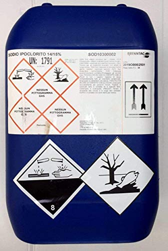 Romana Chimici Cloro Liquido Ipoclorito di Sodio per Piscina 14/15% kg 25