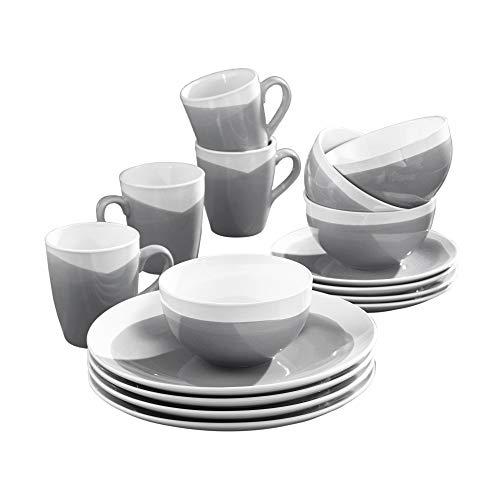 American Atelier Oasis 16 Piece Round Dinnerware Set, 10.5x10.5, Charcoal
