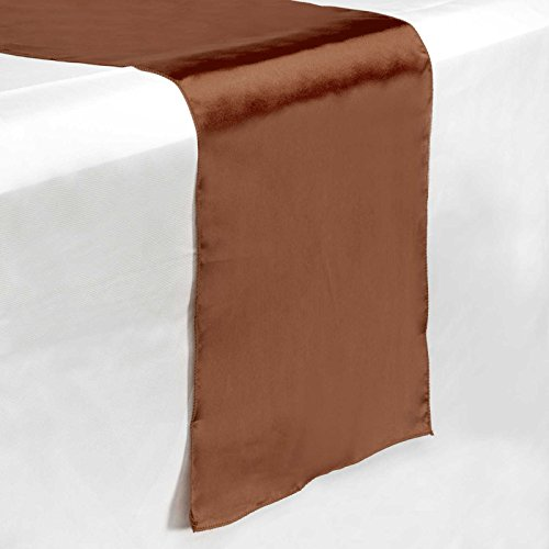 "Lann's Linens - 5 Satin 12"" x 108"" Dining Room Table Runners for Wedding, Reception or Party - Chocolate Brown"