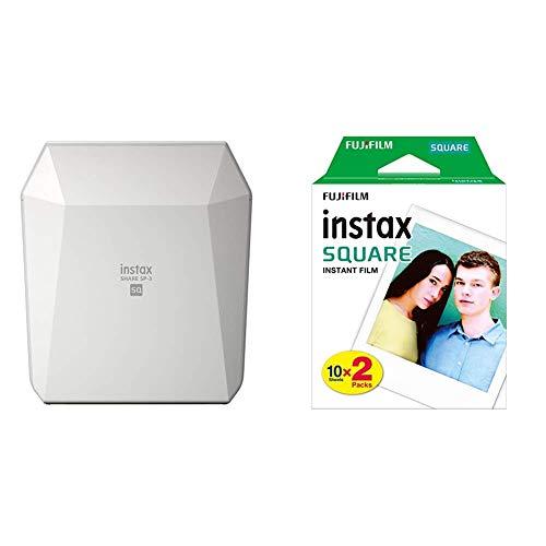 Fujifilm Instax Share SP-3 - Impresora para smartphone, color blanco + Fuji FUJ105230 - Película instant instax (square ww 2, 2x10 fotos) multicolor