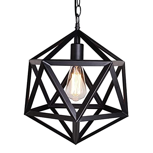 ZGJYSP 14-Inch Industrial Cage Single Lamp Chandelier Vintage Barn Metal Pendant Lamp with Retro Black Finish Ceiling Lamp Chandelier Installation Painted Black MAX 40W