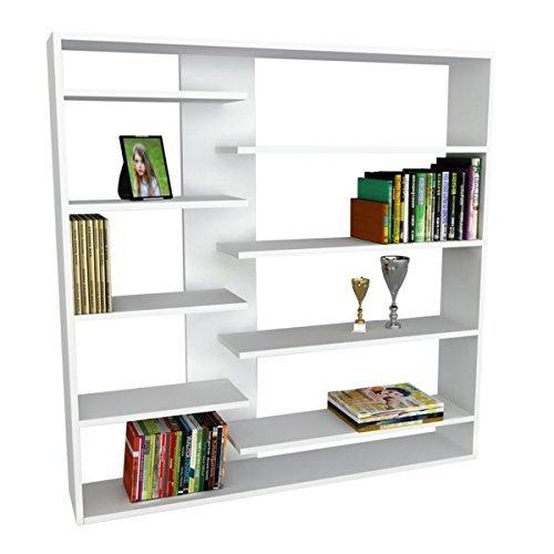 Alphamoebel 0714 Handy Bücherregal Regal Wandregal Standregal Aktenregal Aufbewahrungsregal Regal für Wohnzimmer, Holz, Weiß, 9 Regalablagen, viel Stauraum, rechteckig, 125 x 126 x 22 cm