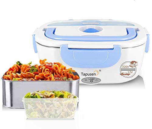 2 in 1 Elektrische Lunchbox Speisenwärmer für Auto und Arbeit 220V & 12V elektrischer Erwärmer 1,5 l Edelstahl mit zwei Fächern und Löffel