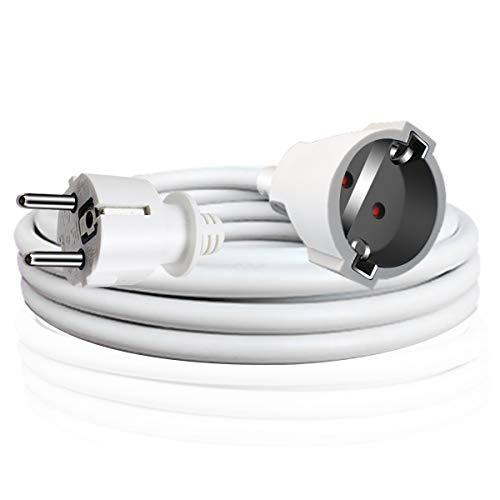 EXTRASTAR Cable Extensible con PROTECCIÓN, Cable Extensible electrico 2 Metros 230V / 16A / máx. 3680W Blanco
