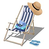TolleTour folding garden lounger, wooden deck chair with armrests and pillow, removable beach lounger Sun Fabric for the garden, terrace and balcony 126 kg max.