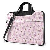 AOOEDM Laptop-Tasche Computertasche Ärmelabdeckung Pink Bunnies Print Wasserdichte Schulter Aktentasche 13 14 15,6 Zoll