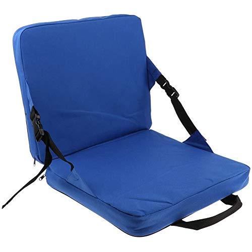 POFET Bequemes Klappbank-Sitzkissen mit Rückenlehne Angelkissensitz für Gartenpatio Camping Wandern - Blau