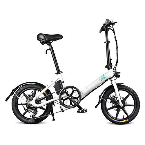 OUXI FIID0 D3S Shifting Version Bicicleta electrica, Asistente de Potencia para Adultos E-Bike 7.8AH 250W 36V Batería 16 Pulgadas Mini Bicicleta Plegable para Ejercicio al Aire Libre Ejercicio-Blanco