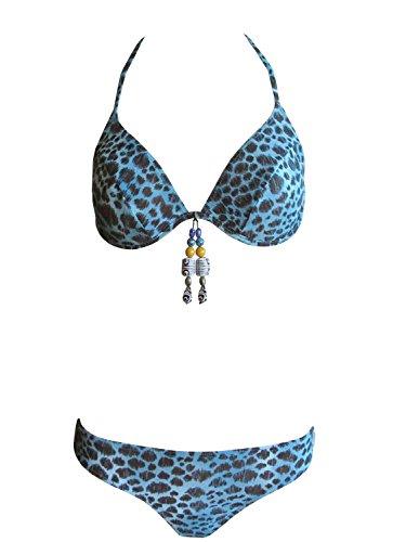 Solar Tan Thru Neckholder-Bügel-Bikini blau/schwarz, Gr. 38 B-Cup