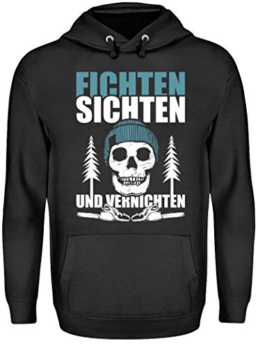 HOLZBRÜDER® Fichten sichten und vernichten Hoody für die Arbeit mit der Kettensäge im Wald als Pulli T-Shirt und Kaputzenpullover (XXL, Schwarz)