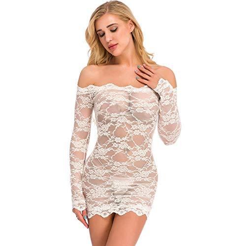 MEN.CLOTHING-LEE Conjuntos de lencería para Mujer Ropa de Dormir para Mujer Lencería Sexy XL lencería Sexy Net Red Jumpsuit-White_M