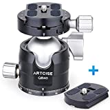 Low Profile Ball Head Tripod Mount Ball Head ARTCISE 40MM Diameter All Metal