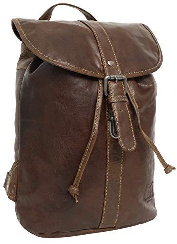 Gusti Rucksack Leder Damen Herren klein - Bennett Lederrucksack Backpack 12L Vintage Braun Dunkelbraun Schnappverschluss Wasserfest