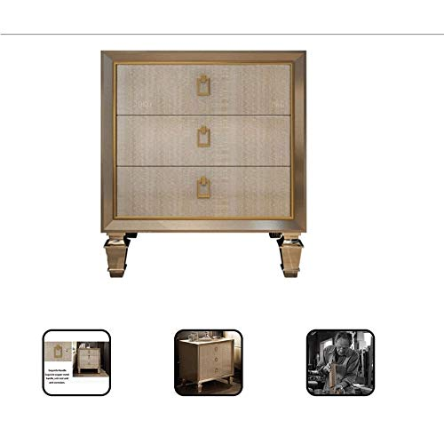 Best Review Of Lcxligang Oak American Light Luxury Champagne Bedside Table Simple Modern Small Cabin...