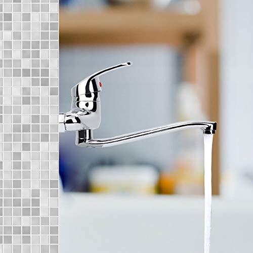 Cobre mezclador de agua grifo de ahorro de agua grifo fregadero sólido montado en la pared larga Facuet boquilla doble agujeros para fregadero de cocina