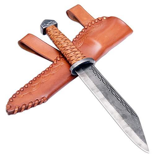 Madhammers Sax Handgeschmiedetes Federstahl Messer - Scharfe & Spitze Klinge mit braun Echtledertasche Kunst- & Kulturliebhaber-Gesamtlänge 36 cm