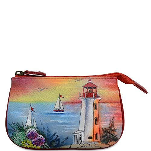 Anuschka Women's Leather Coin Purse - Genuine Soft Leather - Hand-painted Original Art - Guiding Light -  1107-GDL