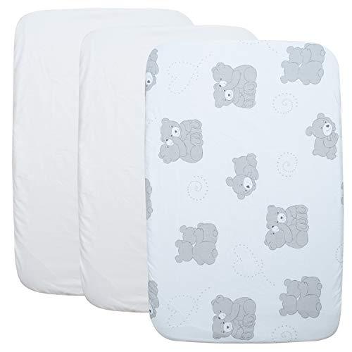 CangooCare© - Juego de 2 sábanas para cuna, 1 protector de colchón impermeable, 100{218960b66e0bead6a4c73eeb7cf3b3140ce533dd44acbec5a3afec8ec12c8f2e} algodón, compatibles con Next2me, Chicco Lullago, Cam Cullami, Brevi Nanna Oh, tamaño 50 x 83 cm, ositos