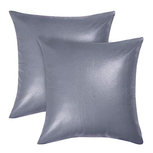 Sourcingmap - Federa per cuscino quadrata, in ecopelle, decorativa, per divano, letto, 45,7 x 45,7 cm, Similpelle, Blu e grigio., 2 pezzi