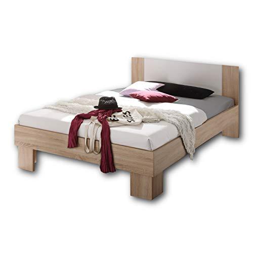 Stella Trading MARTINA Stilvolles Futonbett 140 x 200 cm - Komfortables Jugendzimmer Doppelbett in Eiche Sonoma Optik, weiß - 145 x 85 x 204 cm (B/H/T)