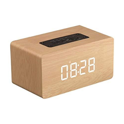 TIANYOU Versión de Reloj de Madera Altavoz Bluetooth Multifunción Alarma de Computadora Sound Smart Wireless Computer Speaker Vida de batería larga/A