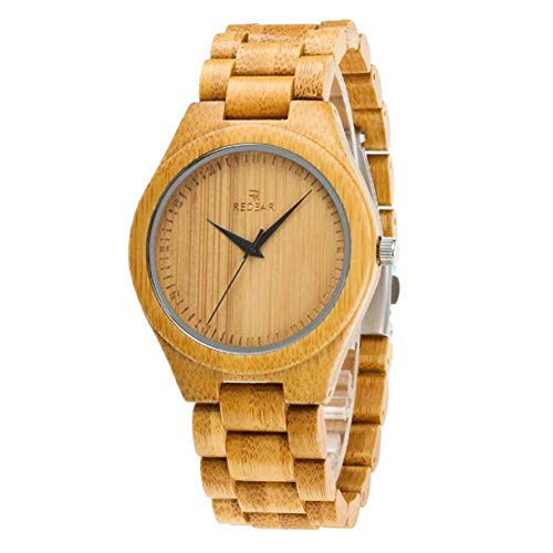 Molinter Bambus Uhren Analoge Quarz Natürliche Holzuhr mit Hölzerne Armband Für Damen Herren Geschenke (Herren)