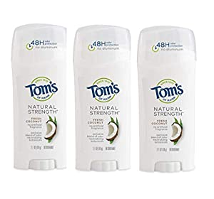 48-HOUR PROTECTION: Contains 3 - 2.1-ounce sticks of Tom's of Maine Natural Strength Deodorant in Fresh Coconut scent. This natural deodorant formula offers 48-hours of protection for women INNOVATIVE FORMULA: Toms deodorant for women features a blen...