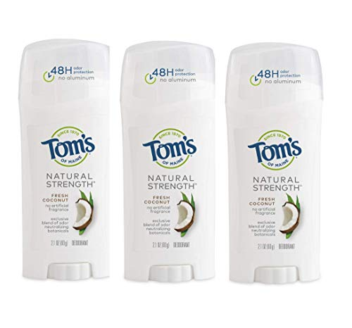 Tom's of Maine Natural Strength Deodorant, Natural Deodorant, 48-Hour Odor Protection, Fresh Coconut, 3 Pack