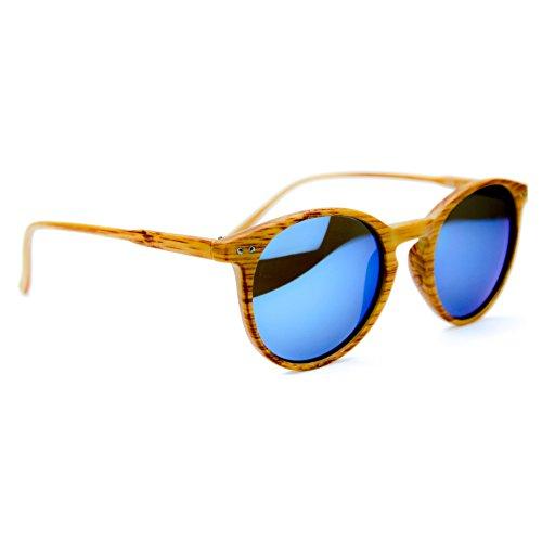 ISURF EYEWEAR Occhiali da Sole Modello 21OTTANTA Wood Effetto Legno Rotondi SPECCHIATI O SFUMATI -vestibilità Piccola (Specchio Blu)