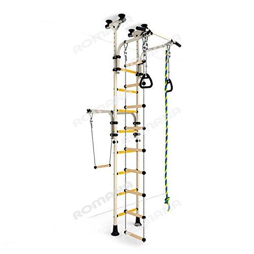 Blanco) de juegos Set para niños que se conecta a the Piso & Techo/Interior Entrenamiento Gimnasio Deporte set con accesorios Equipment: Trapeze Barra, cuerda, Climber, Cuerda de escalera, anillas de gimnasia-OLYMPIAN: Amazon.es: