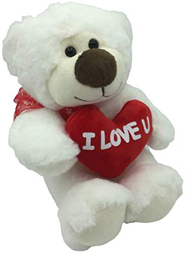 ML Oso de Peluche Blanco de 30cm, con un Corazon con Frase romantica I Love, Mirada tierna. Felpa Muy Suave